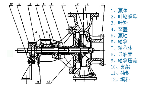 RY导热油泵体结构示意图